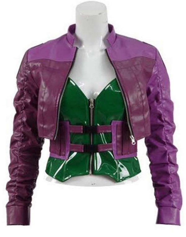 Injustice 2 Harley Quinn Purple Leather Jacket