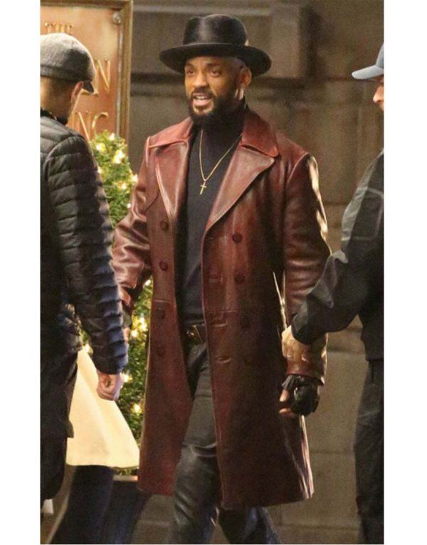 suicide squad leather trench coat