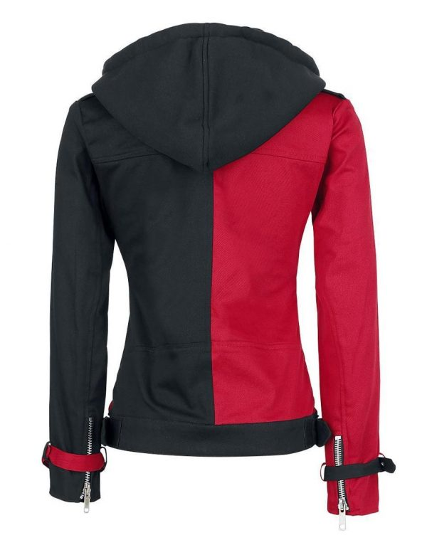 Harley Quinn Black Red Hooded Jacket